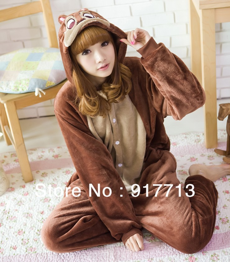 New Cartoon Cosplay Adult Animal Pajamas Costumes Pyjamas Sleepwear Brown Chipmunk All in one(China (Mainland))