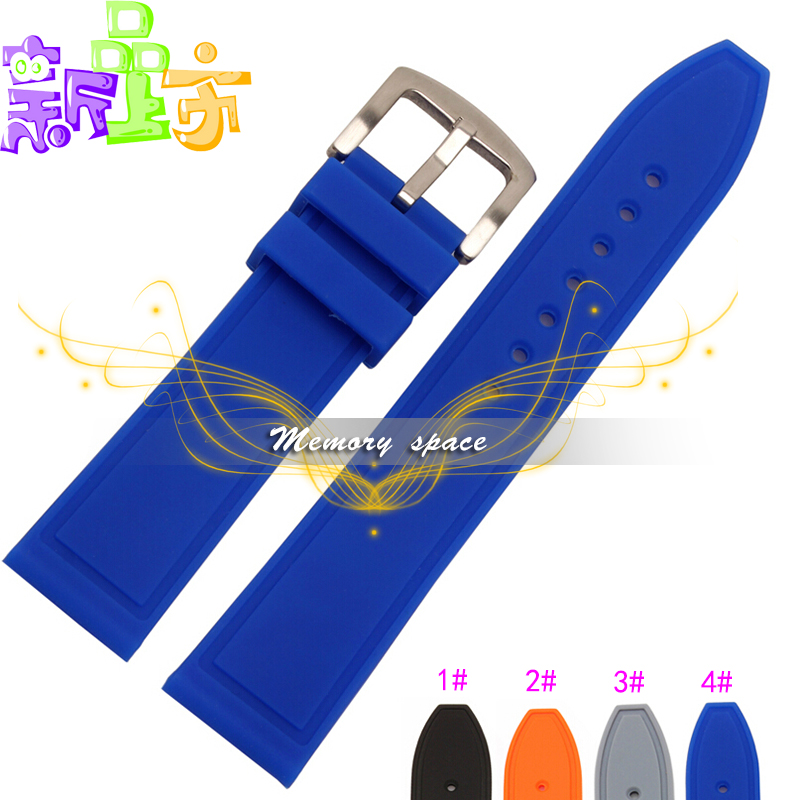 2015 Hot Silicone Rubber Watch Band Strap Straight End Bracelet 20mm 22mm 24mm Waterproof Rubber Free Shipping(China (Mainland))