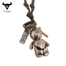 Fashion Cute Bear Pendant Necklaces Handmade Long Leather Cord Lovely Ladies Necklace Choker Cross Letter Tag Necklace for Women(China (Mainland))
