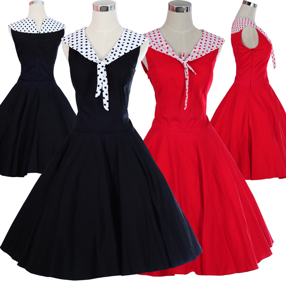Original Summer Style Black Dress Womens Clothing Retro Vintage 50s Dresses