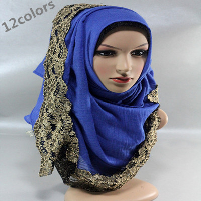 winter Spring summer soft cotton 100% viscose solid infinity golden lace scarf women's shawl muslim hijab(China (Mainland))