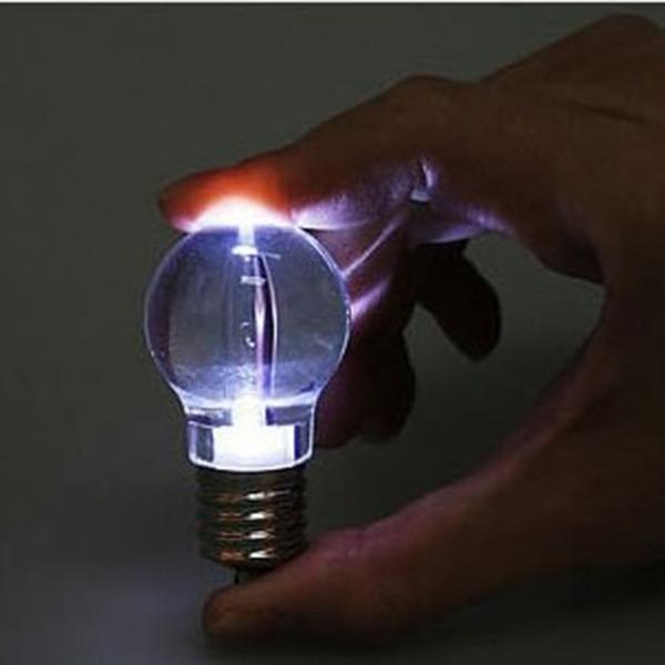 Silver Bright Creative LED Flash Lights Mini Bulb Torch Chain Keyring Xmas Gift Design Keychain Clear Lamp(China (Mainland))