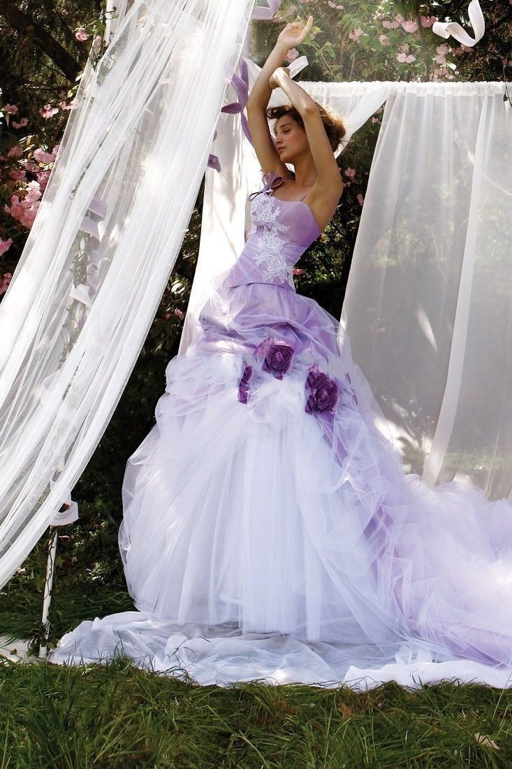 Beautiful princess white purple wedding dresses vestido de for White wedding dress with lavender