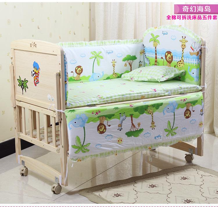 Фотография Promotion! 10PCS Duvet baby Cot Crib bedding Set Embroidery Quilt Bumpers Sheet Dust Ruffle (bumper+matress+pillow+duvet)