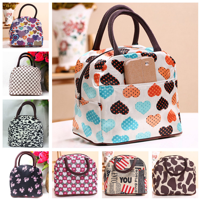 canvas Waterproof Casual Women Kids Lunch Bag Outside Picnic Food Packaging Handbag Tote for lunch boxes heart leopard prints(China (Mainland))