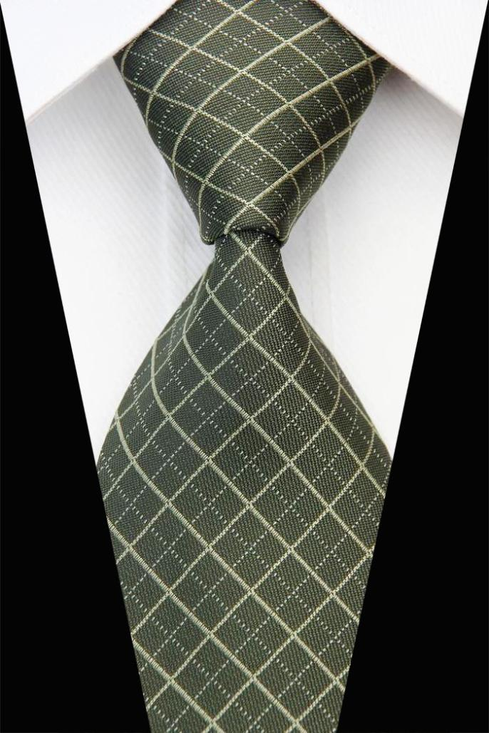NT0452 Green Checks Jacquard Woven Smooth Classic Silk Polyester Blend Man's Casual Necktie Business Knitted Ties Gravata(China (Mainland))