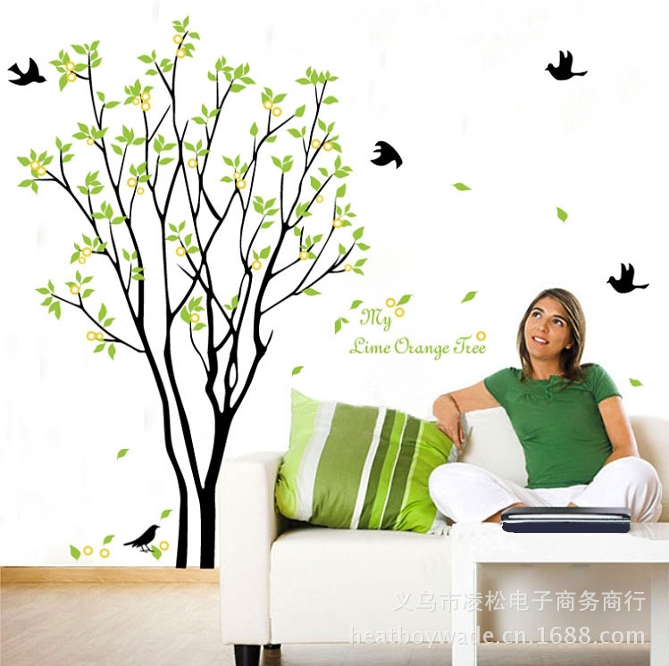 large lemon tree birds wall sticker decals green plants wall mural decals wallpaper design part 2