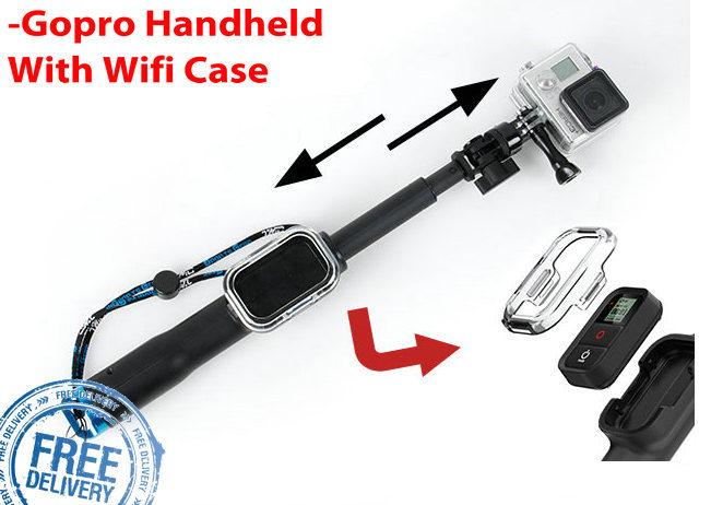 gopro accessories 39 98cm extendable selfie stick with remote housing case aluminium go pro hero. Black Bedroom Furniture Sets. Home Design Ideas
