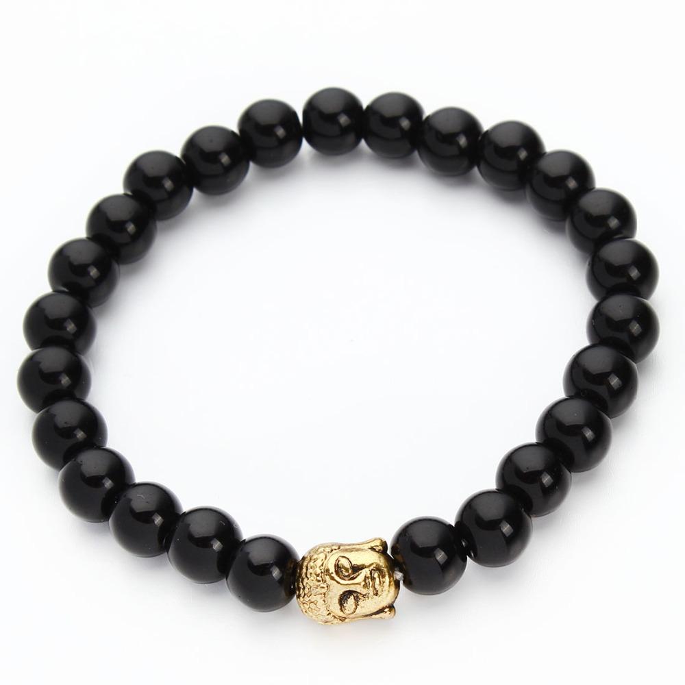 2015 Hot Lava Stone Onyx Bead bracelet elastic chain Natural stone new fashion buddha Bracelets Bangles