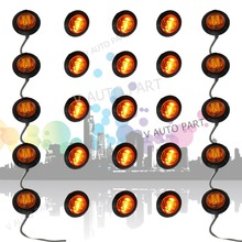 50X Mini 3/4 inch 12V Round Truck Marker fit for Boat Tailer Lorry Light Amber 3 LED Bullet Grommet(China (Mainland))