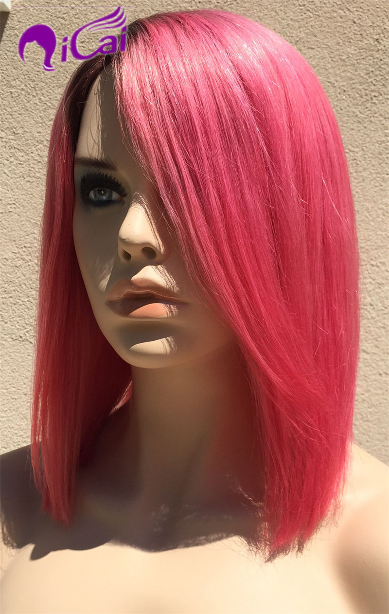 Brazilian Pink Ombre Lace Front Human Hair Wigs Human Hair Wigs Glueless Full Lace Human Hair Brazilian Virgin Hair Straight Wig(China (Mainland))