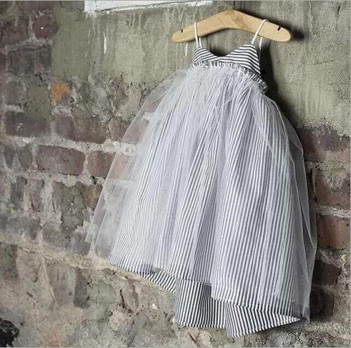 Striped Summer Girl Lace Dress Korea Style Children Cute Dress 5pcs/lot Free Shipping(China (Mainland))