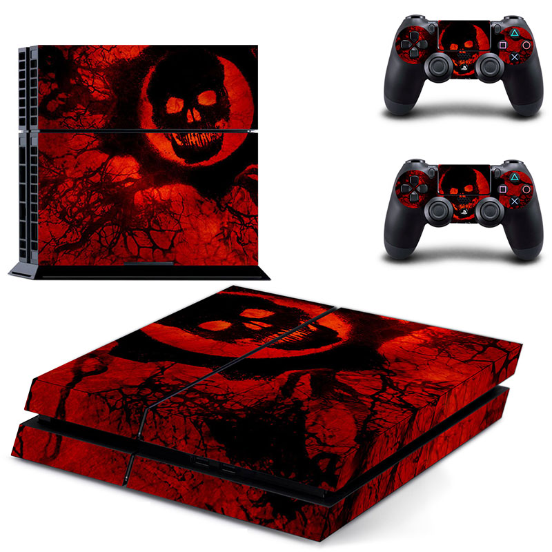 Gears Of WAR 3 New Red Skull Decal Skin Cover For Sony Playstaion 4 Console PS4 Skin Stickers+2Pcs Controller Protective Skins(China (Mainland))