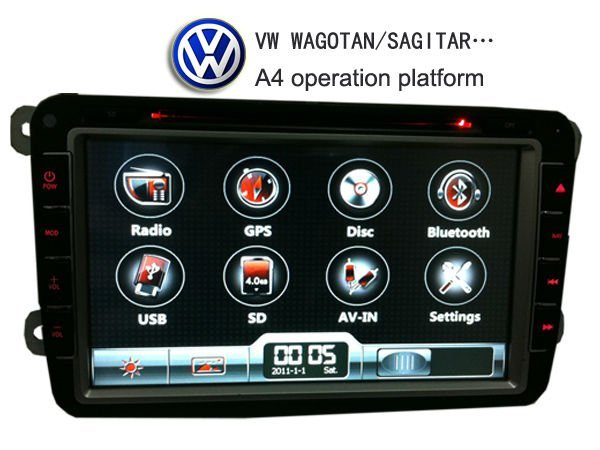 Free shipping 8 inch 2 din touch screen car dvd player for VW  with gps