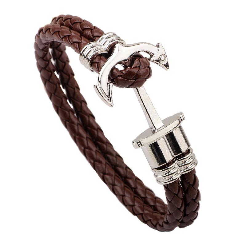 Anchor Bracelets Men Jewelry Summer Tribal Navy Wrap Multilayers Black Brown Genuine Leather Bracelet Wholesale B029(China (Mainland))