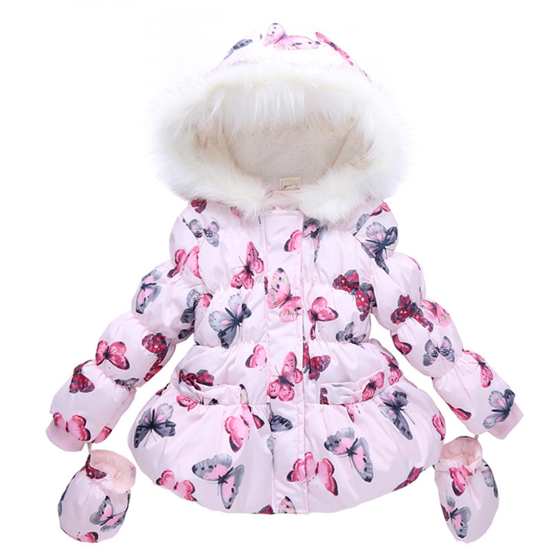 New winter girls winter jacket cotton-padded children coat hooded butterfly baby girl outwear Warm clothing(China (Mainland))
