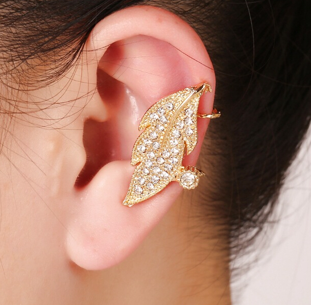 2016 Pendientes wedding Clips Earrings gold leaf simple gem crystal Ear Cuff Clip Earrings For Women Brinco Jewelry 112(China (Mainland))