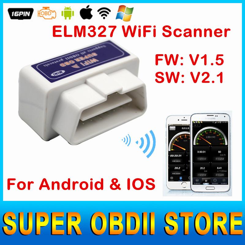 High Quality Mini ELM327 WiFi V1.5 AUTO CHECKER OBDII Code Reader ELM 327 ELM327 Wi Fi OBD2 Diagnosis For Android / IOS System(China (Mainland))
