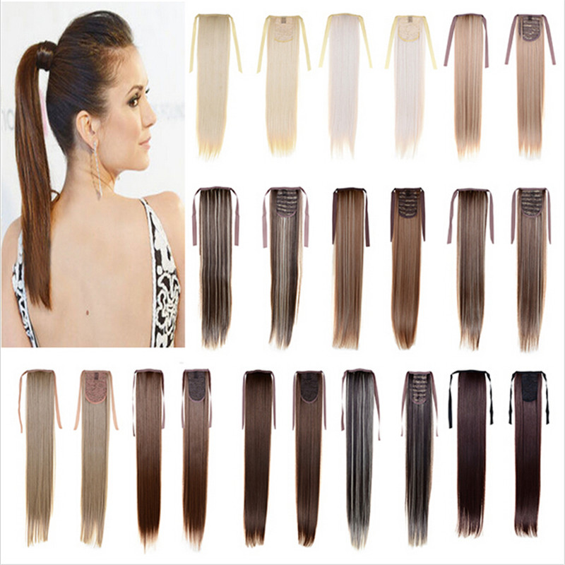 Womens Long Straight Hair Piece Steel Synthetic Ponytail Hair Extensions Clip In Hair Styling 16 colors Available Drop Selling<br><br>Aliexpress