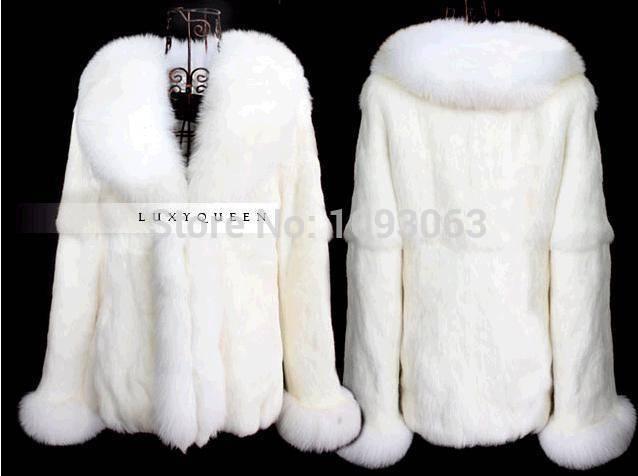 Women Lady Faux Rabbit Fox Fur Parka White Coat Winter Warm Luxury Jacket Outerwear S-3XL(China (Mainland))