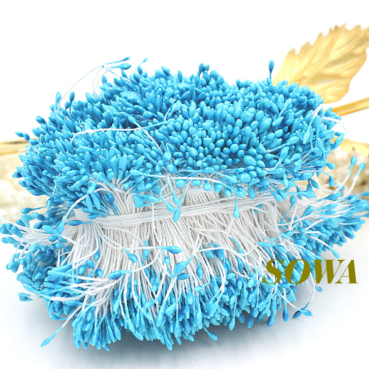 Free shipping 1mm 900pcs/Lot Double Head Blue Color Flower Pearl Stamen Cake Decoration Craft DIY(China (Mainland))