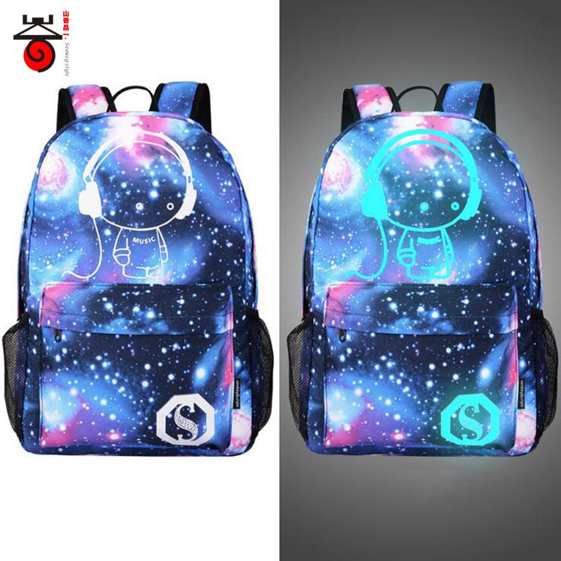 Senkey style Men's Backpack Anime Starry sky Luminous Printing Teenagers Casual Mochila Men Women's Student Cartoon School Bags(China (Mainland))