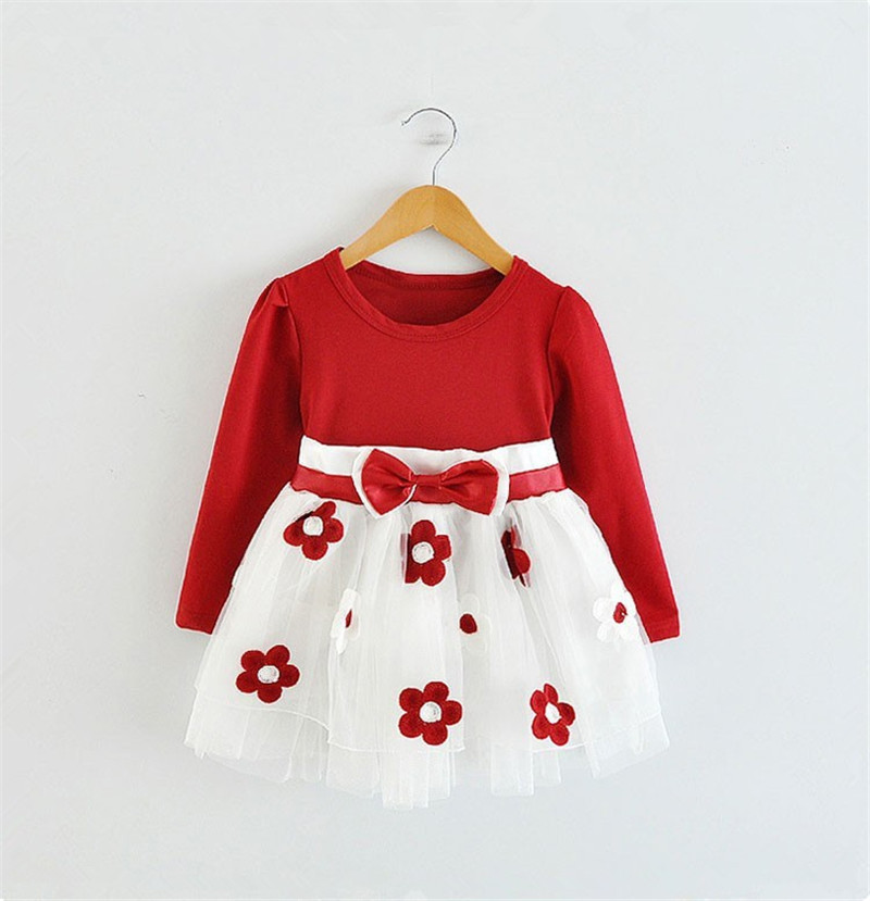 2017 Baby Princess Girls Toddler New Born Flower Dress for Newborn Long Sleeves 1-2 Year Birthday Baby Dresses for Children(China (Mainland))