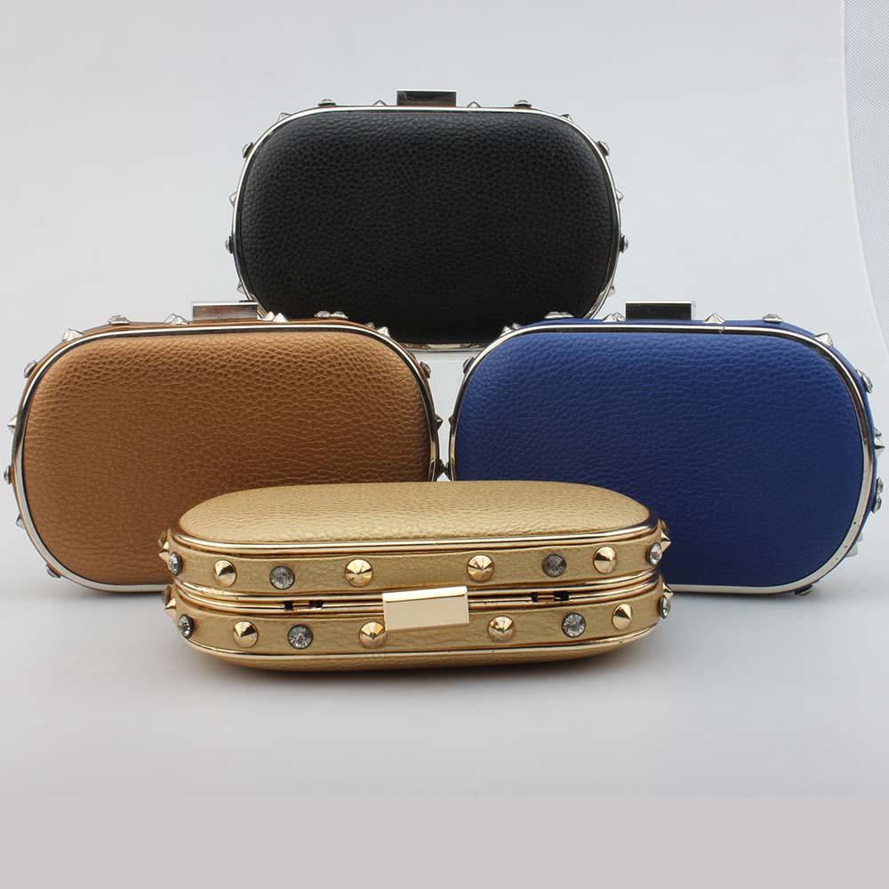 Fashion Women's Solid Color PU Clutch Bag Oval Evening Bag Elegant Ladies Handbag Bolsas Carteira Feminina(China (Mainland))