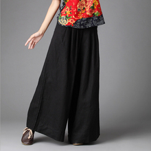 Sexy Black Female Cotton Linen Wide Leg Pant Summer Style Casual Long Loose Pants Speaker Pants A-27