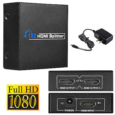 2 Port HDMI Splitter Amplifier 1 In To 2 Out Dual Display For Xbox 360 HDTV PS3 with Power Plug(China (Mainland))