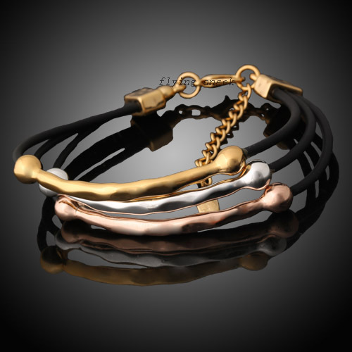 Free Shipping Good sale So Fashion Cool Yellow/ Rose / White Gold plated Rope Leather Woman's Bracelet K133(China (Mainland))