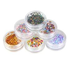 1 set 6 Color New Design Round Shape Nail Glitter Powder Dust 3D Nail Art Decorations Nail Art Bottle Tip Set DIY Tools WY214(China (Mainland))