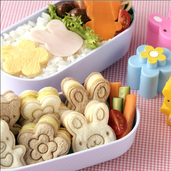 New Arrivals Bear Flower Rabbit Sandwich Mold Cutter Bread Biscuits Embossed Device Cake Tools Rice Balls Lunch Mould 0125(China (Mainland))