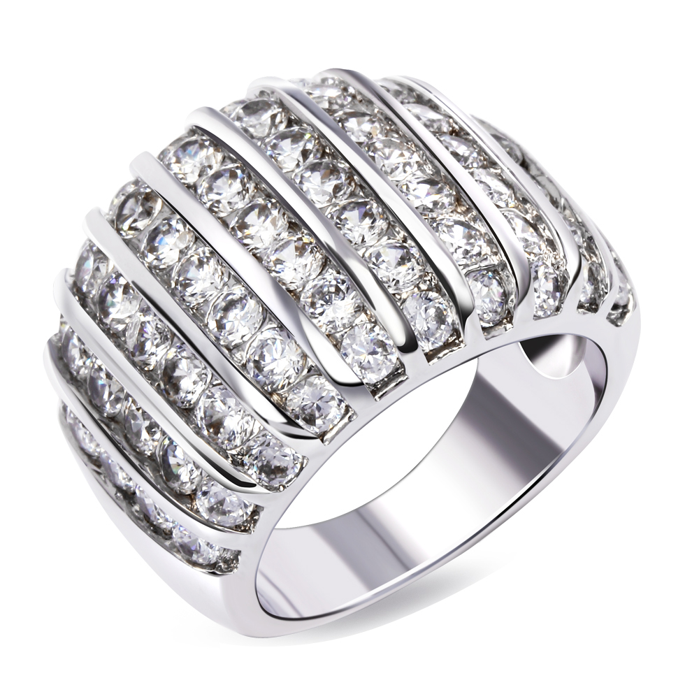 Women Brand Wedding Band Rings Round Cut Synthetic Cubic Zirconia Paved Rhodium Gold-color Lead Free Finished 16 mm