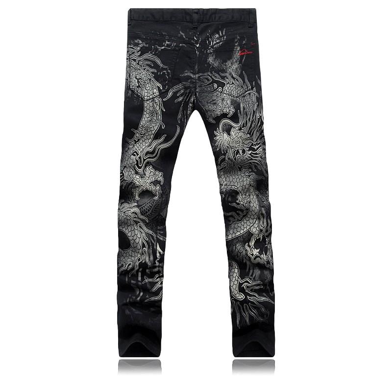 Скидки на Большой размер 28 - 36 оптовая продажа высокое качество причинных тонкий мужчин печать дракон джинсы брюки певцы-мужчины брюки костюм мужская одежда для танцев