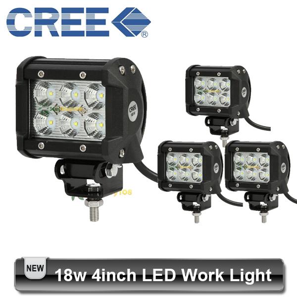 4pcs 4 inch 18W CREE LED Light Bar Off road 6*3w 12V 24V 4x4 Truck Motorcycle Boat Tractor Spot Flood Lamp(China (Mainland))