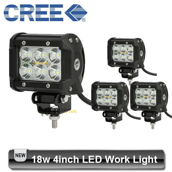 4pcs 4 inch 18W CREE LED Light Bar Off road 6*3w 12V 24V 4x4 Truck Motorcycle Boat Tractor Spot Flood Lamp(China (Mainland))