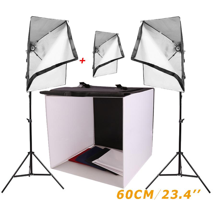 Photo Studio Lighting Kit Photography Softbox Light Tent Cube+two 68cm Stand + three 220v 50x70cm PSCTS2-60 - LightupFoto store