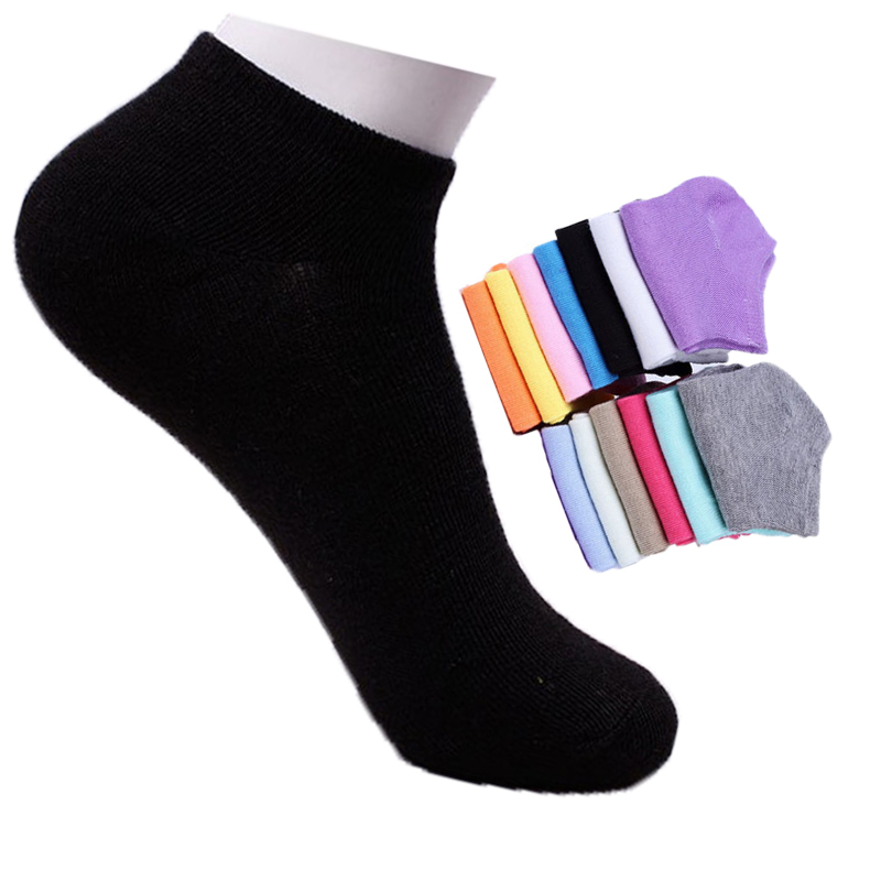 D&W(10Pair/Lot) Fashion Candy Color Cotton Lot Cut Invisible Socks For Women Summer Casual Thin Ankle Socks Ladies Calze Donna
