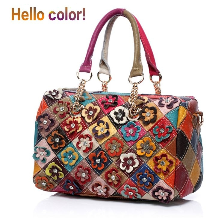 New 2013 women genuine leather brand handbags / fashion hit the color shoulder bag flower bags genuine leather Freeship<br><br>Aliexpress