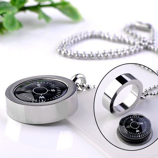 "Stainless Steel REAL Compass Pendant Ball Chain Necklace 19""L Jewelry"