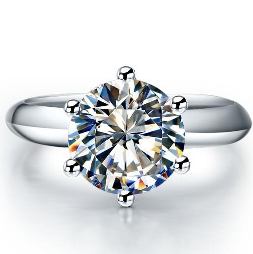 1 carat Brilliant Round moissanite Engagement ring 18K white gold Bridal Wedding Jewelry Fabulous Gift Girl Love best(China (Mainland))