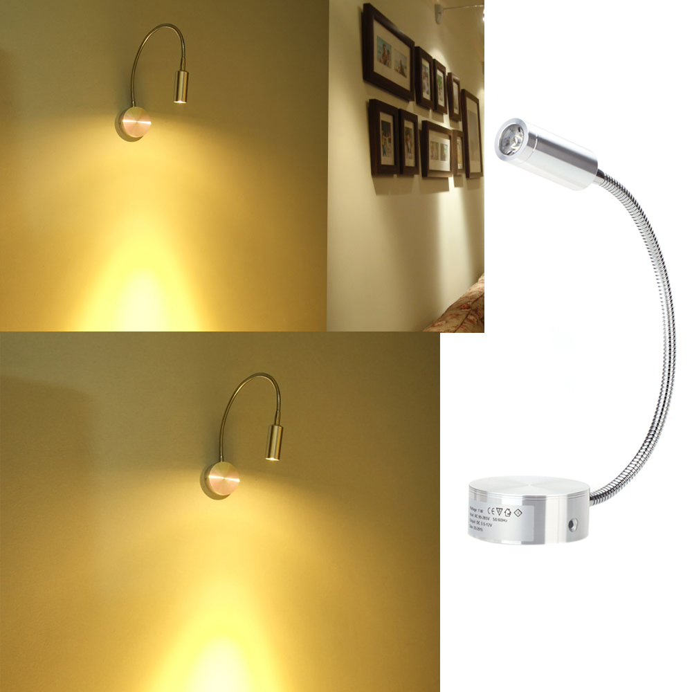 LED Bedside Lamp Reading Wall Lamps Soft Tube Adjustable 3W Background Black/Silver Warm/White Mirror Color Light Without Switch(China (Mainland))