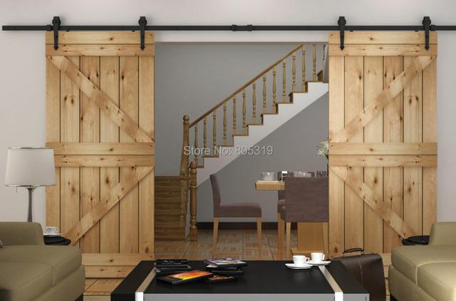 Duty double sliding barn door modern wooden sliding barn door hardware