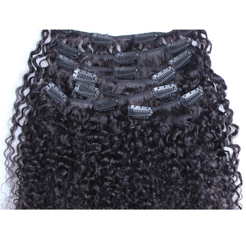 Curly Clip In Human Hair Extensions Brazilian Virgin Hair Kinky Curly Clip In Hair Extensions 3B 3C Rosa Hair Products
