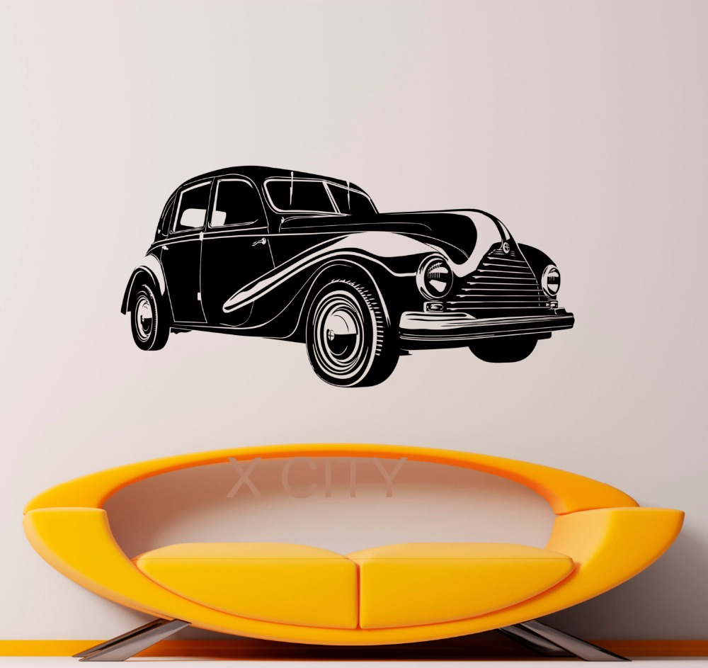 Retro Classic Vintage Wecker Car Decal Wall Vinyl Sticker Home Interior Removable Bedroom Decor 57 x 117cm(China (Mainland))