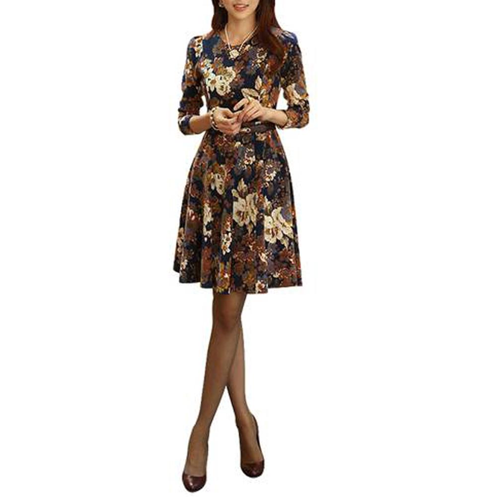 С поясом! 2015 женщины элегантные цветы печать с длинным рукавом Большой размер офисное платье весна осень Vestidos свободного покроя
