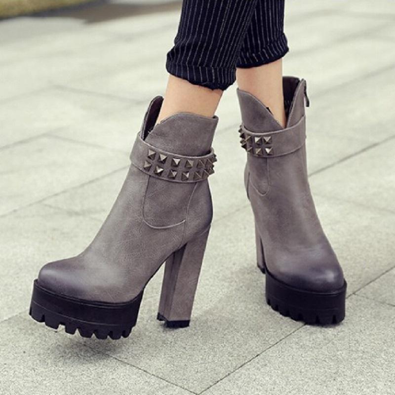 Здесь можно купить  free shippping 32-42 2015 Sexy Ultra High Heels Shoes Women Boots Female Round Toe Martin Boot Platform Women Shoes Ankle Boots  Обувь