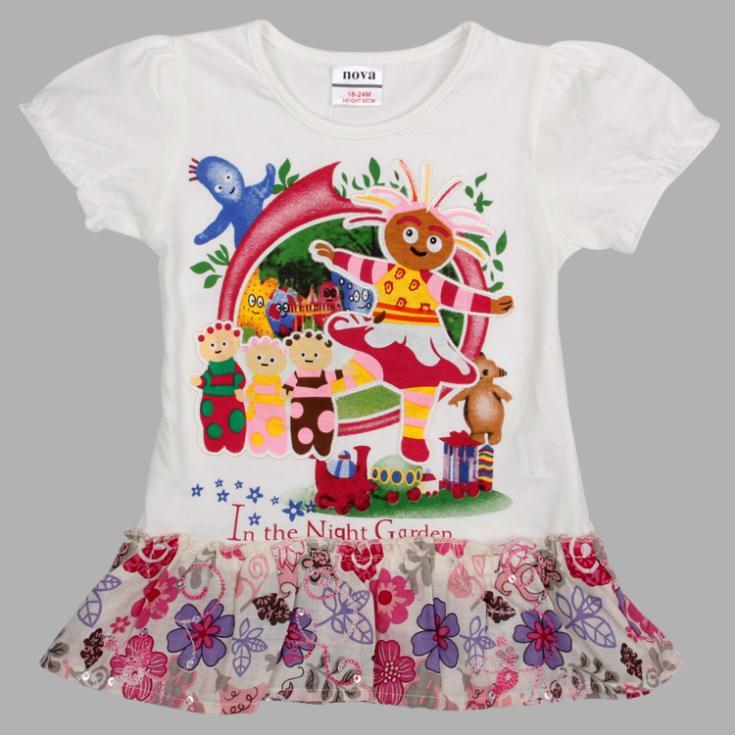 Girl dress new 2014 nova kids wear summer dress printed embroidered cartoon &amp; flower hot sale on party dress for children  <br><br>Aliexpress