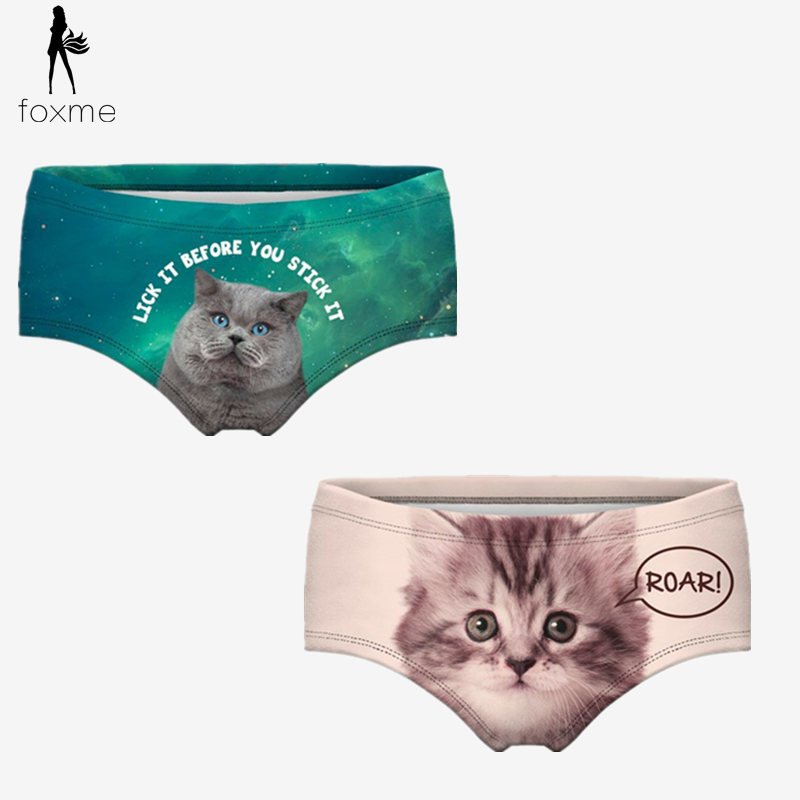 Women Intimates Fashion Girls Underwear Seamless Control Panty Sexy 3D Printing cat Panties Soft & Btreathable Briefs Plus Size(China (Mainland))